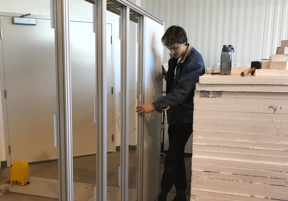 Ben Fischer building the thermal enclosure — all those Lego toys paid off!